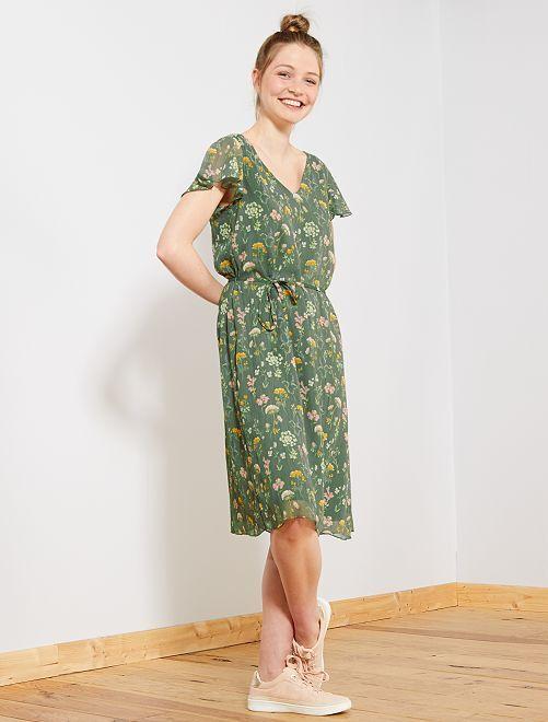 Vestido de flores de gasa 'JDY'                             verde