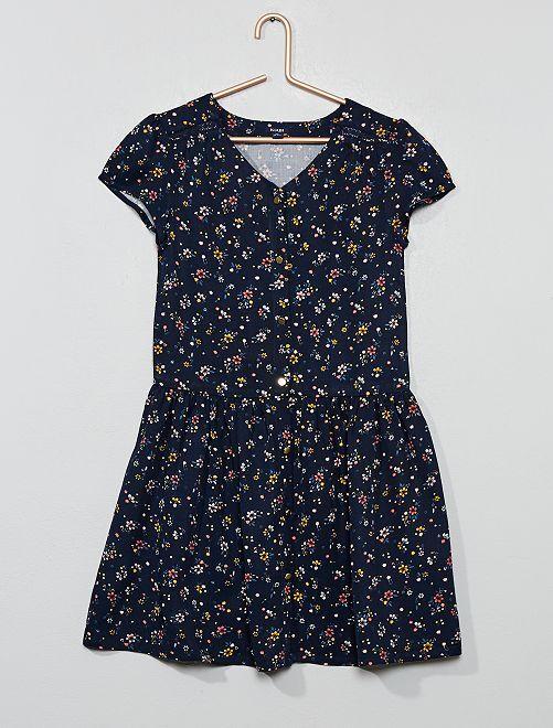 Vestido de flores vaporoso                                         AZUL Chica