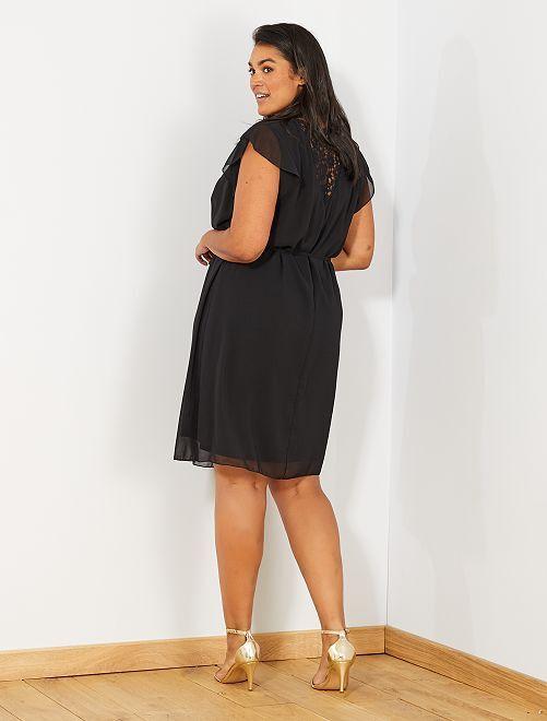 Vestido de gasa con encaje en la parte trasera                             negro