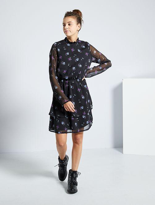 Vestido de gasa con flores                             estampado negro