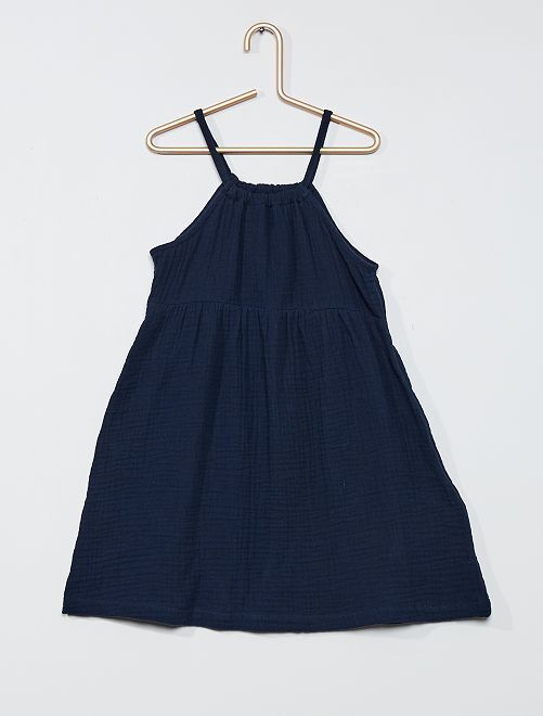 Vestido de gasa de algodón                             azul