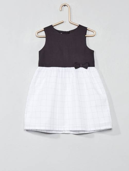 Vestido de gasa de algodón                                                         gris oscuro/a cuadros Bebé niña