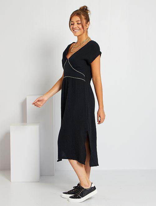 Vestido de gasa de algodón                                         negro