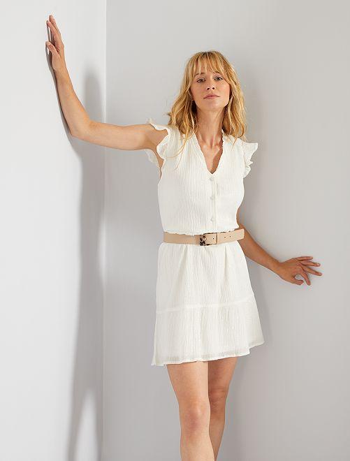 Vestido de gasa de crespón brillante                             blanco