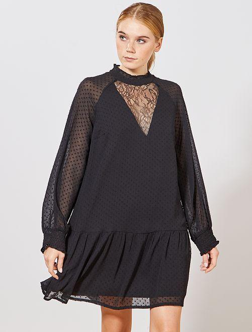 Vestido de gasa de plumeti y encaje                             negro