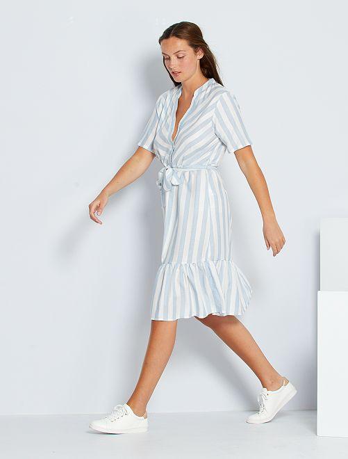 Vestido de manga corta a rayas 'JDY'                             azul/blanco