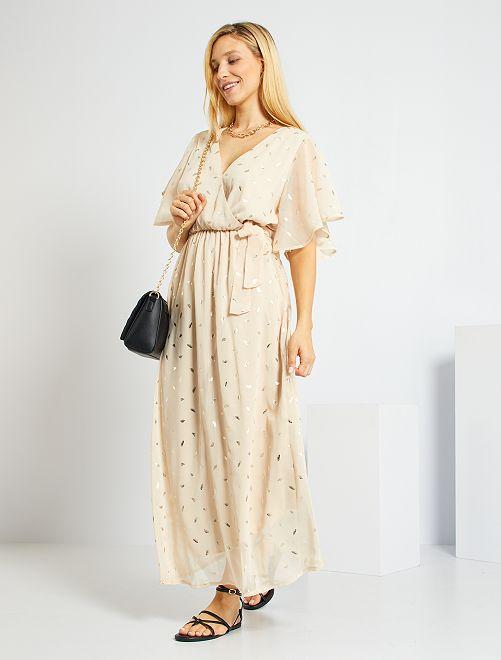 Vestido de muselina con estampado de 'plumas'                             BEIGE