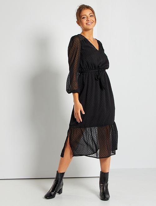 Vestido de muselina de plumeti                                                                 negro