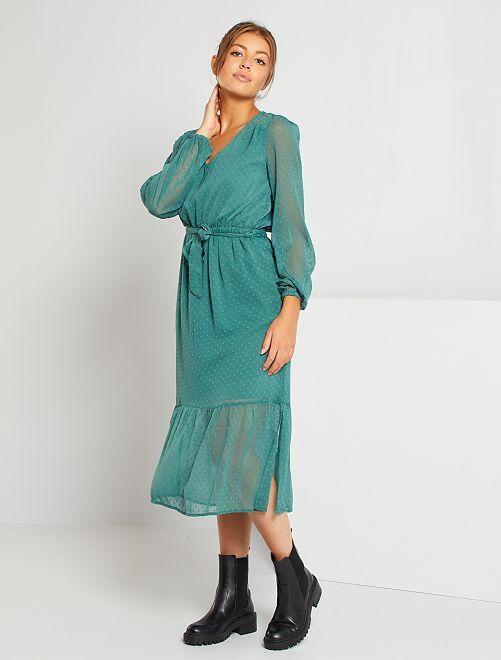 Vestido de muselina de plumeti                                                                 verde oscuro