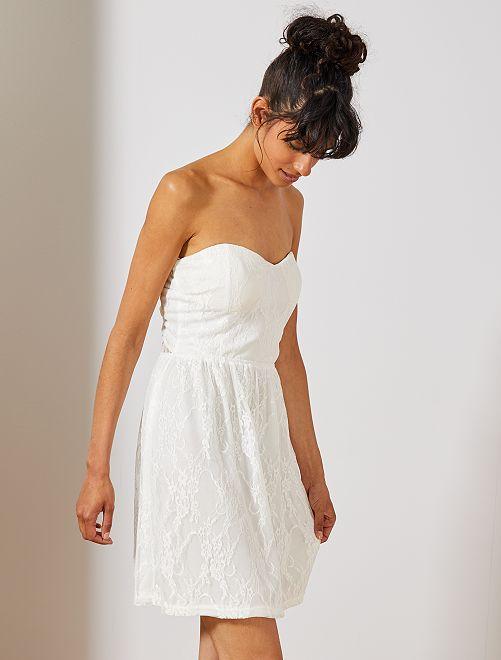 Vestido de palabra de honor de encaje                                         blanco Mujer talla 34 a 48
