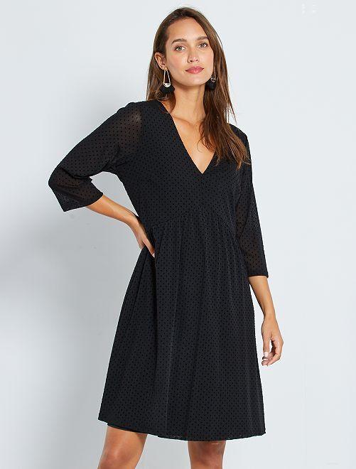Vestido de plumeti                             negro