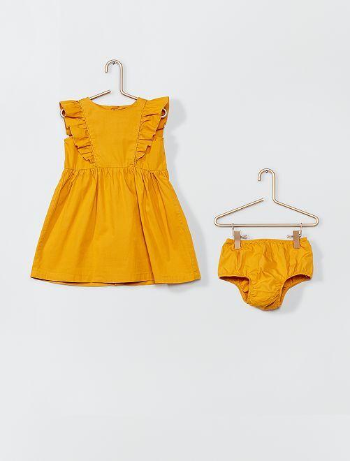 Vestido de popelina + bragutia                             AMARILLO