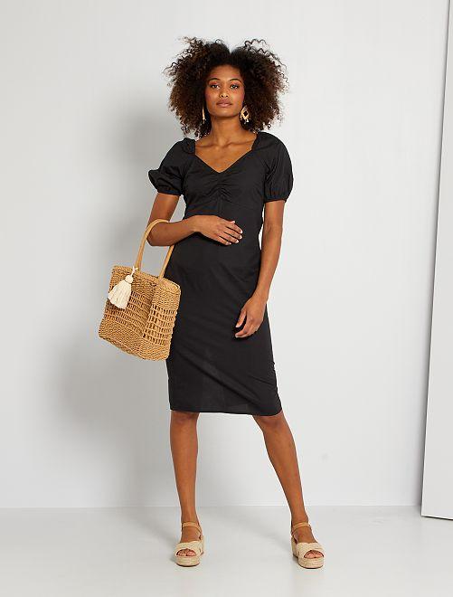 Vestido de popelina de algodón                             MARRON