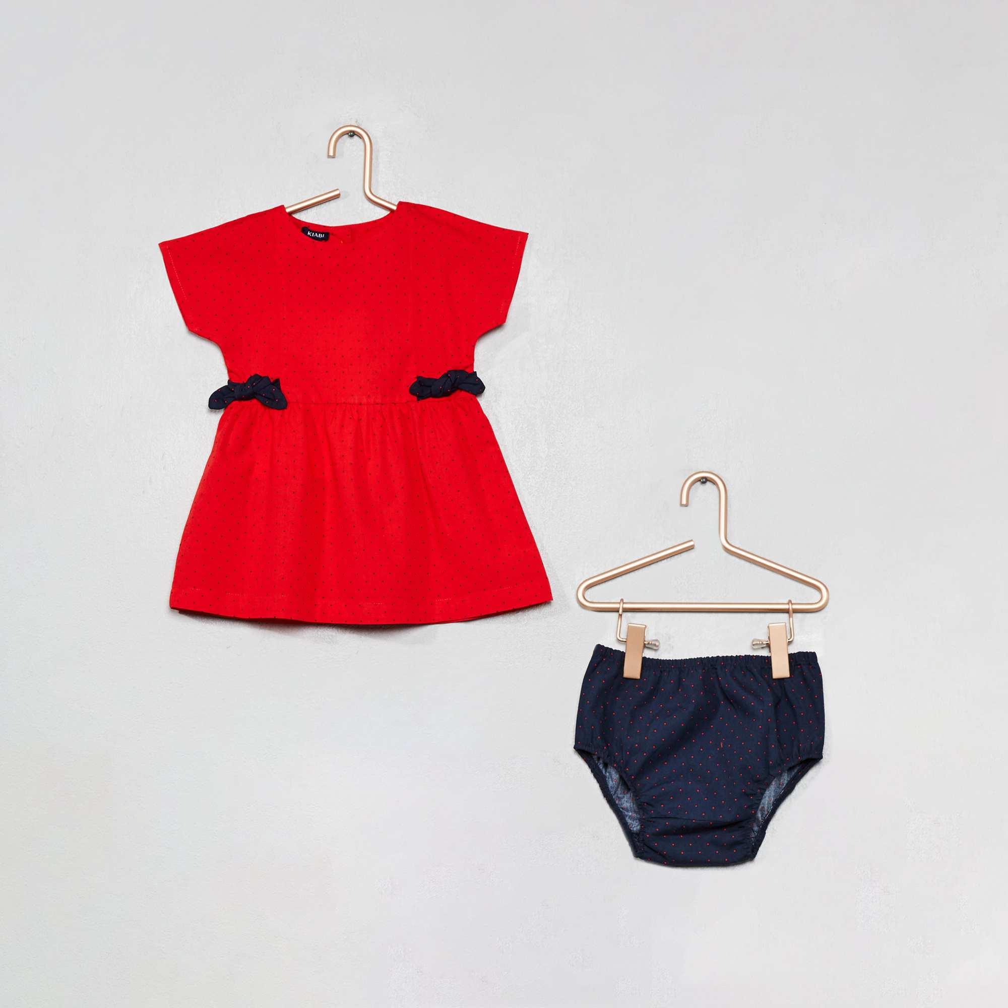 Vestido de popelina de lunares Bebé niña - ROJO - Kiabi - 13 604159d45cfa