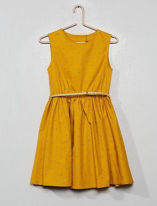 Vestido de popelina espalda abierta                                                                 AMARILLO
