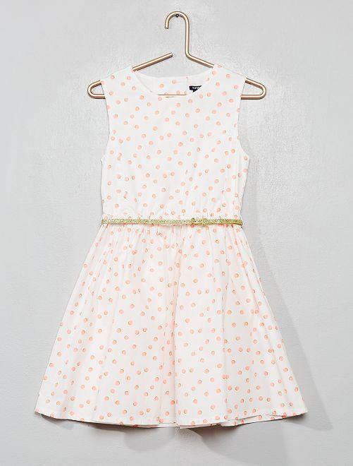 Vestido de popelina espalda abierta                                                                                         BEIGE