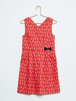 Vestidos - Vestido de popelina estampada sin mangas