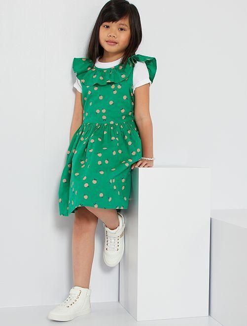 Vestido de popelina                                                                                                                 VERDE