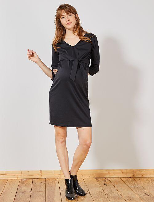 Vestido de premamá de punto milano                             negro