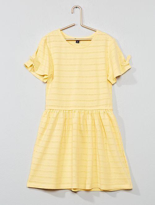 Vestido de punto calado de fantasía                                                                             amarillo Chica