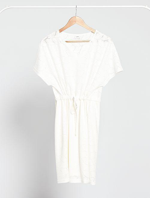 Vestido de punto con encaje calado 'JDY'                                                     blanco