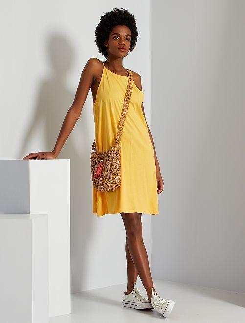 Vestido de punto con sisa americana                                                                             amarillo crema
