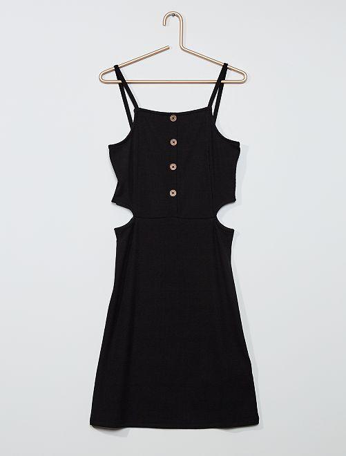 Vestido de punto de canalé                                 negro