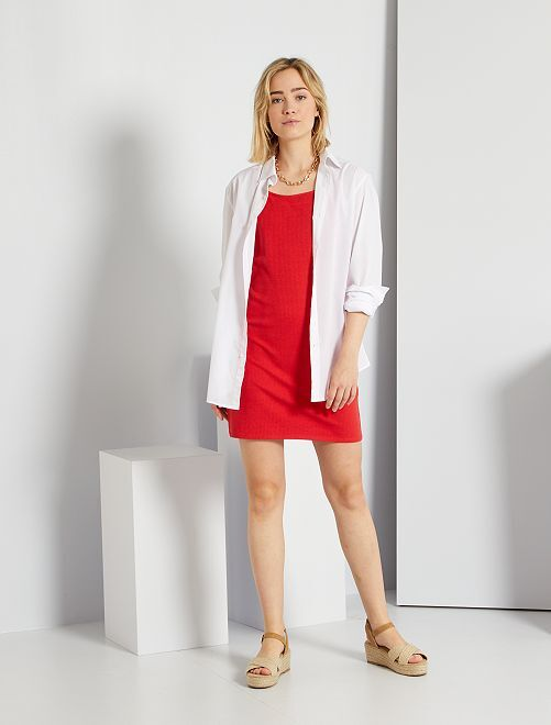 Vestido de punto de canalé                                                                             rojo