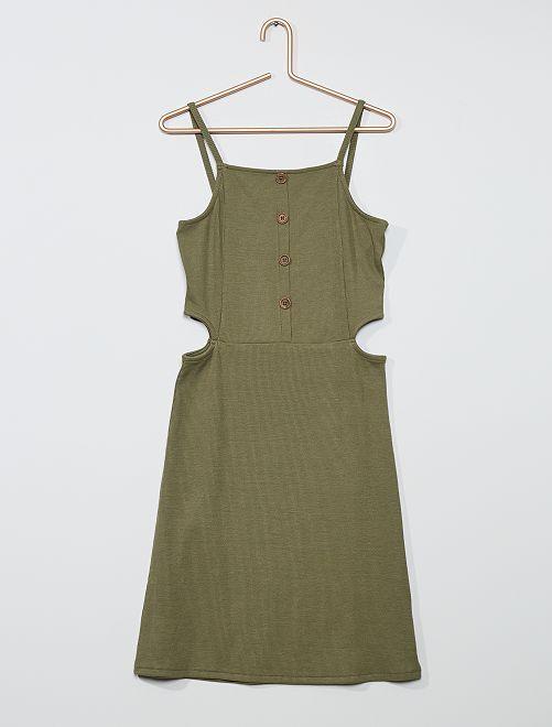 Vestido de punto de canalé                                         verde liquen
