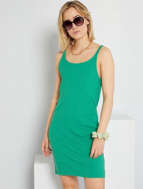 Vestido de punto de canalé                                                                             verde
