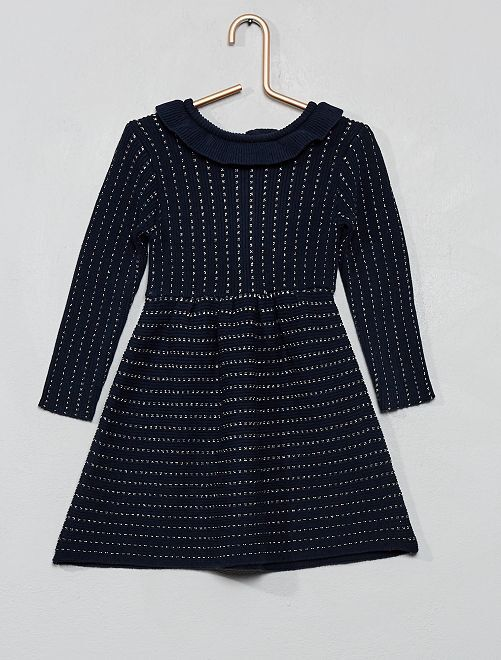 Vestido de punto tricotado                             azul