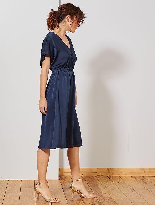 Vestido de raso                                         azul