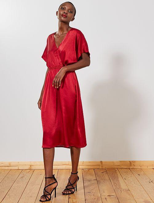 Vestido de raso                                         ROJO