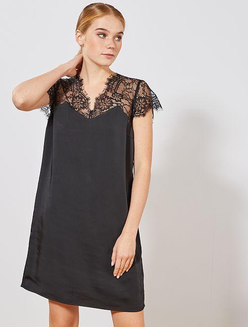 Vestido de raso y encaje                             negro