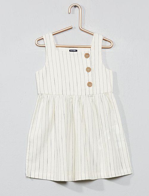 Vestido de rayas con detalles de botones                                         crudo Bebé niña
