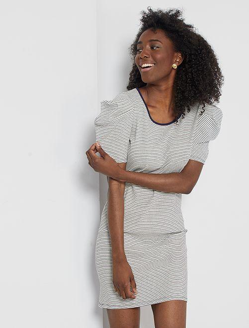 Vestido de rayas con manga globo                             BLANCO