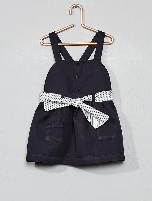 Vestido de sarga + cinturón a rayas                             AZUL Bebé niña