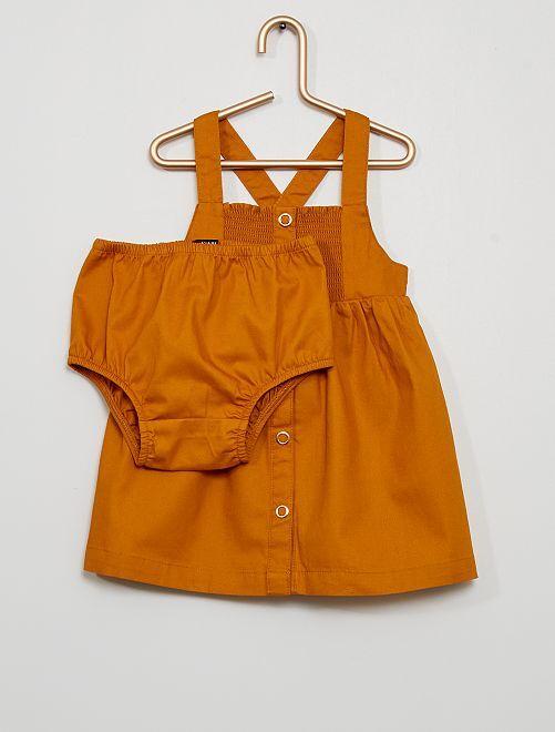 Vestido de sarga con braguita eco-concepción                                         AMARILLO