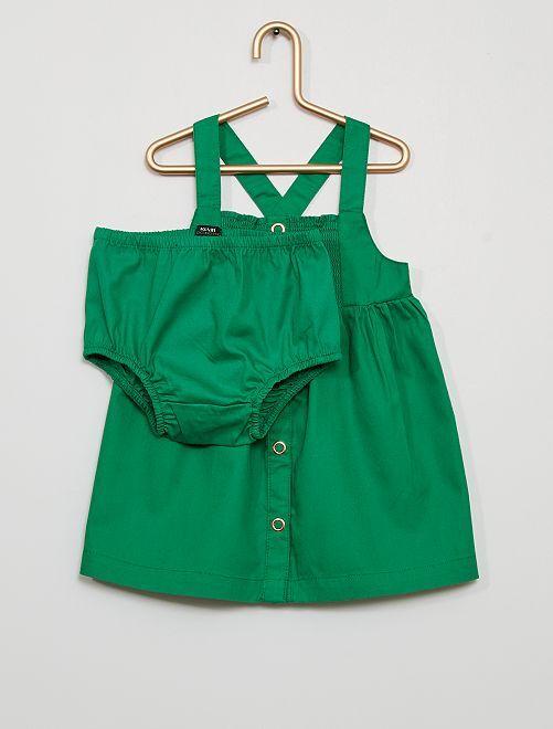 Vestido de sarga con braguita eco-concepción                                                     verde
