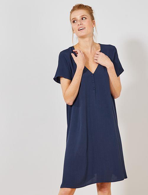 Vestido de tejido de crepé                     azul