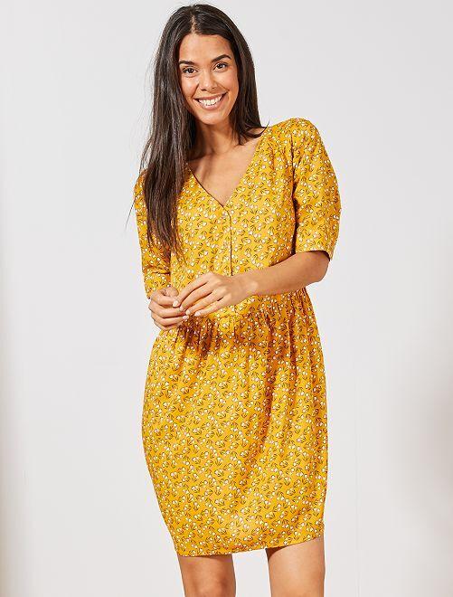 Vestido de tejido vaporoso estampado                                                     AMARILLO Mujer talla 34 a 48