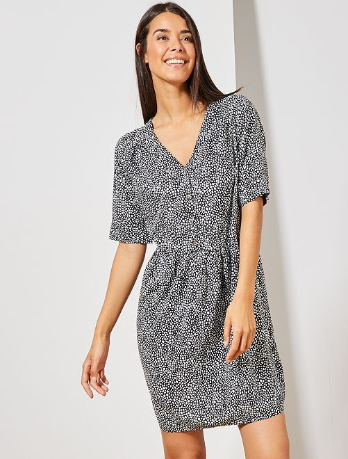 Vestido de tejido vaporoso estampado                                                     NEGRO Mujer talla 34 a 48
