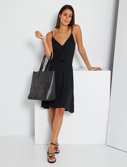 Vestido de tirantes finos de punto vaporoso                                         negro