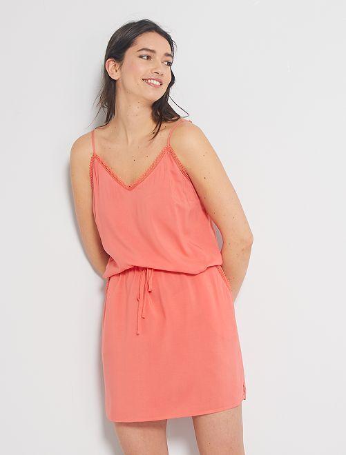 Vestido de tirantes finos                                                                 rosa naranja