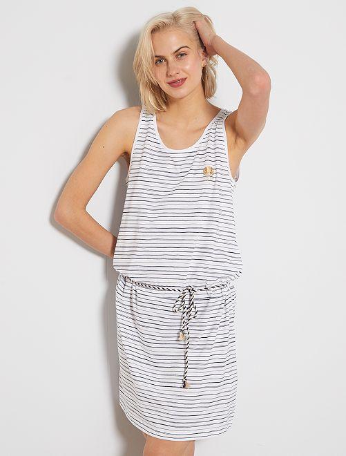 Vestido de tirantes 'Longboard Stories'                             blanco rayado