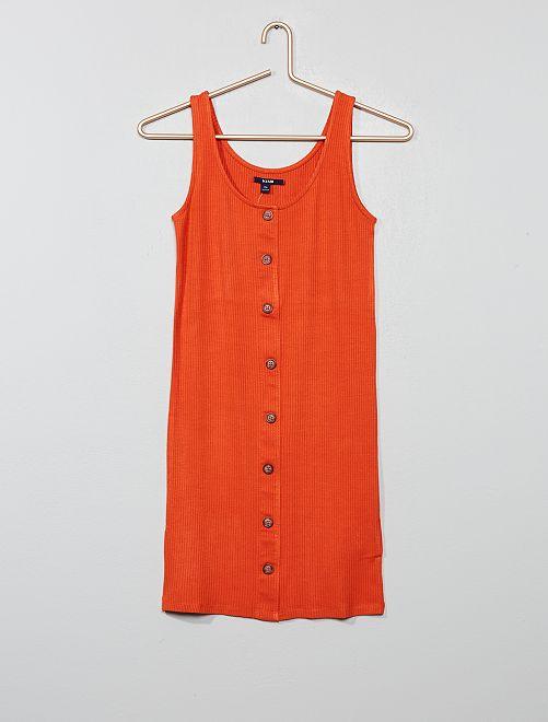 Vestido de tubo con botones                                         naranja Joven niña