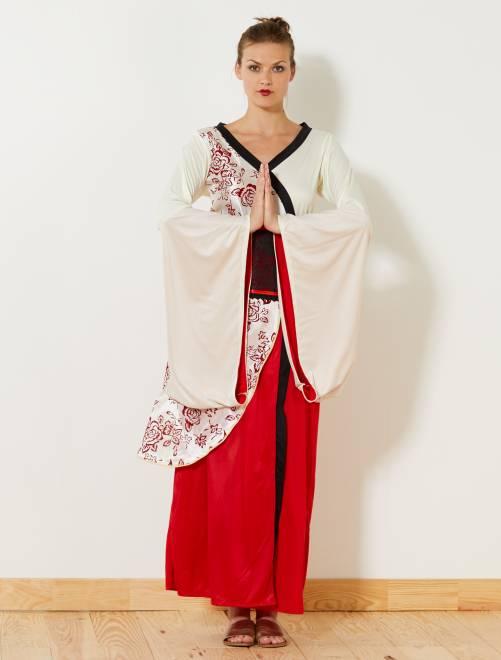 Vestido disfraz estilo kimono                             rojo/blanco