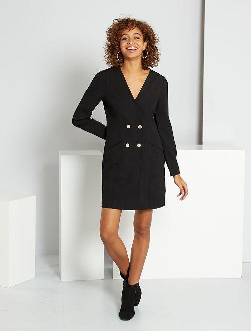 Vestido efecto blazer                             negro