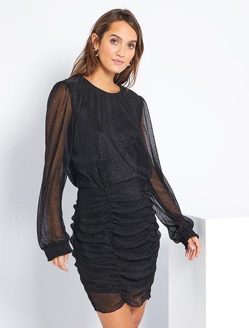 Vestido efecto drapeado                             negro