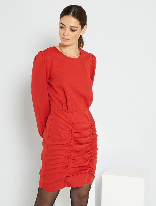 Vestido efecto drapeado                                         rojo bombero